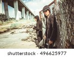 vietnamese gangsters with... | Shutterstock . vector #496625977
