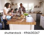 family at home eating breakfast ... | Shutterstock . vector #496630267