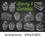 bakery and desserts chalk... | Shutterstock .eps vector #496631803