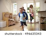 excited children returning home ... | Shutterstock . vector #496635343