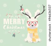 merry christmas postcard ... | Shutterstock .eps vector #496636537