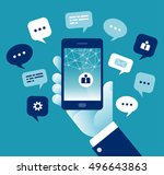 mobile communication. concept... | Shutterstock .eps vector #496643863