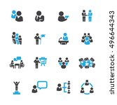 business and people set icons... | Shutterstock .eps vector #496644343
