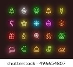 christmas neon icons | Shutterstock .eps vector #496654807