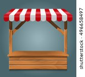 street stall with red awning... | Shutterstock .eps vector #496658497