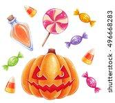 halloween hand drawn... | Shutterstock . vector #496668283