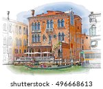 venice   grand canal. ancient... | Shutterstock .eps vector #496668613