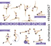 big set   fitness and yoga... | Shutterstock .eps vector #496669267