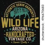 authentic buffalo  vintage... | Shutterstock .eps vector #496670683