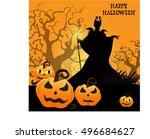 halloween background with... | Shutterstock .eps vector #496684627