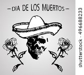 day of the dead. the skull in a ... | Shutterstock .eps vector #496688233
