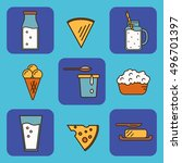 dairy icons set in line style... | Shutterstock .eps vector #496701397