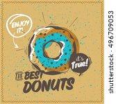 donut with sprinkles   donut... | Shutterstock .eps vector #496709053