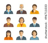 asian business people flat... | Shutterstock .eps vector #496711033