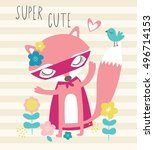 super hero fox cartoon my... | Shutterstock .eps vector #496714153