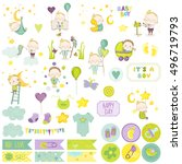 cute boy scrapbook set. vector... | Shutterstock .eps vector #496719793