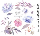 watercolor floral set. hand... | Shutterstock . vector #496724683