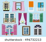 set of detailed colorful... | Shutterstock .eps vector #496732213