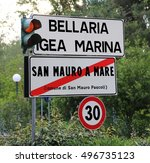 road sign with the indication... | Shutterstock . vector #496735123