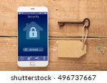 smartphone with smart home... | Shutterstock . vector #496737667