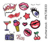 stickers  patches and... | Shutterstock .eps vector #496738333