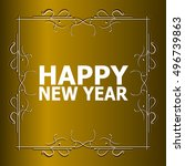 vintage happy new year holiday... | Shutterstock . vector #496739863