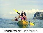 kayaking tropical vacation trip ... | Shutterstock . vector #496740877