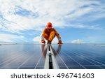 a man working at solar power... | Shutterstock . vector #496741603