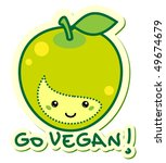 "vector sticker apple ""go vegan"" 