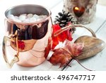 hot chocolate  topped with...   Shutterstock . vector #496747717