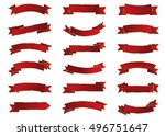 banner red vector icon set on... | Shutterstock .eps vector #496751647