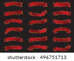 ribbon red vector icon on black ... | Shutterstock .eps vector #496751713