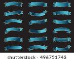 ribbon blue vector icon on... | Shutterstock .eps vector #496751743