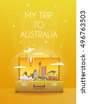 travel to australia. road trip. ... | Shutterstock .eps vector #496763503