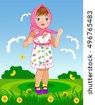 vector illustration. little... | Shutterstock .eps vector #496765483