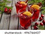 cranberry drink on wooden... | Shutterstock . vector #496766437