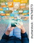 woman hand touch screen smart... | Shutterstock . vector #496768573