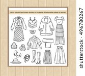4 vector set with hand drawn...   Shutterstock .eps vector #496780267