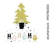 ho ho ho winter saying.... | Shutterstock .eps vector #496786303