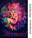 colorful mermaid with muraena... | Shutterstock .eps vector #496786333