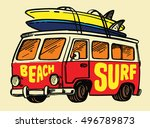 vector surfing badge. beach... | Shutterstock .eps vector #496789873