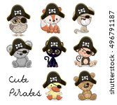 set of cute animals in a pirate ... | Shutterstock .eps vector #496791187