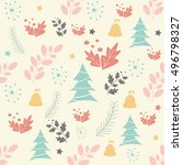 christmas seamless pattern with ... | Shutterstock .eps vector #496798327