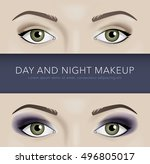 day and night eye makeup... | Shutterstock .eps vector #496805017