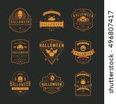 halloween celebration labels...   Shutterstock .eps vector #496807417