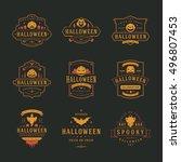 halloween celebration labels... | Shutterstock .eps vector #496807453