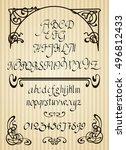 calligraphic vector script font.... | Shutterstock .eps vector #496812433