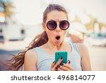 sms. closeup portrait funny... | Shutterstock . vector #496814077