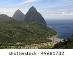Famous Pitons on St. Lucia in the Caribbean - stock photo