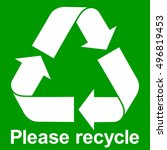 Green Recycle Symbol With Text...